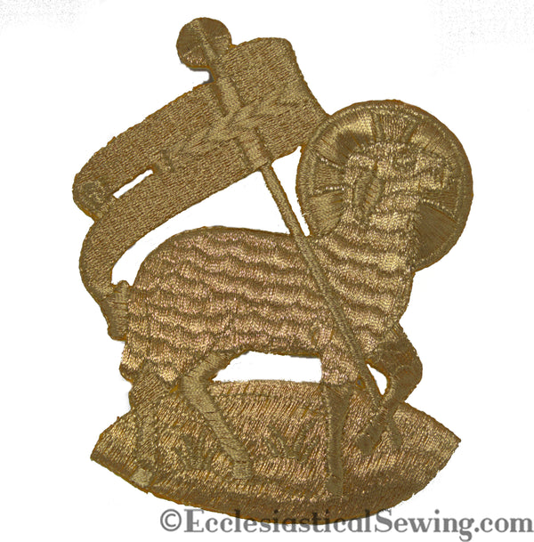 Religious applique | Iron on Lamb Gold applique Ecclesiastical Sewing
