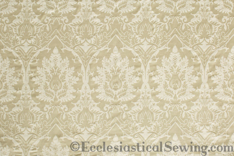 Bramfield Ivory and Blue Silk Damask Liturgical Fabric