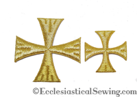 Patee Bright Metallic Gold Cross Iron On | Iron On Metallic Gold Cross Ecclesiastical Sewing