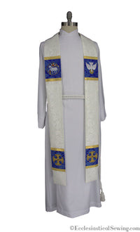 Canterbury Cross Clergy Stole | Episcipal Stoles  White Stoles Collection