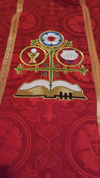 Gothic Chasuble Style #2 in the Luther Rose Brocade Ecclesiastical Collection