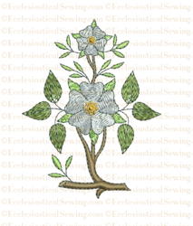 Messianic Rose Single Stem Digital Machine Embroidery Design