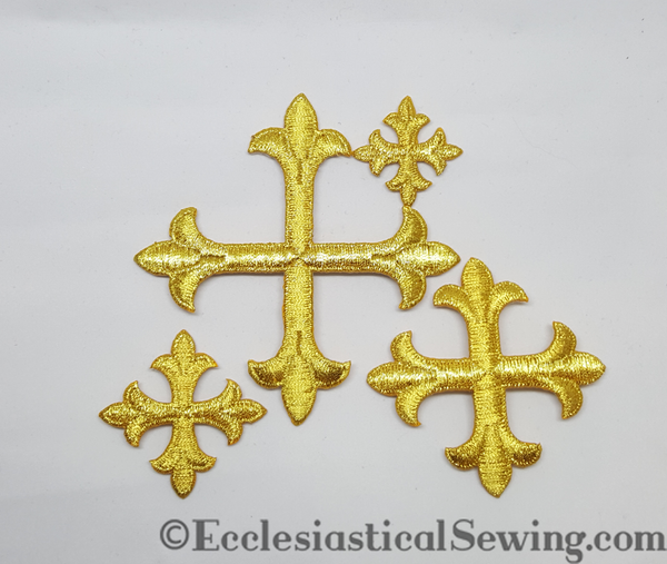 Bright Metallic Gold Iron On Cross | Cross Applique Iron On Church Vestments Ecclesiastical Sewing