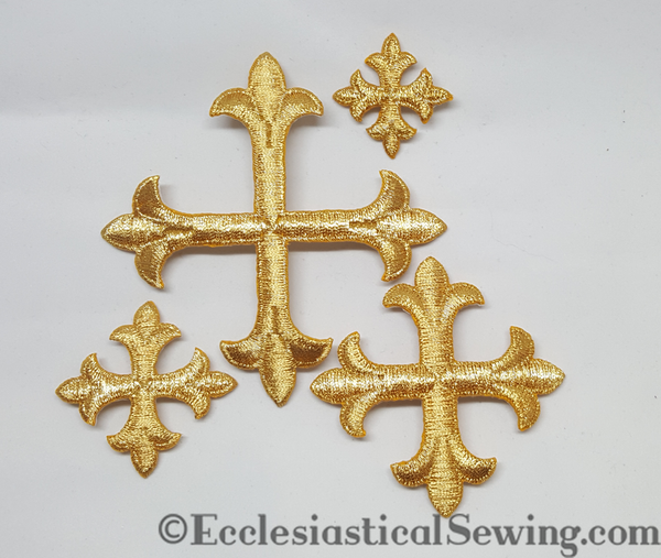 Rose Metallic Gold Iron On Crosses | Small Metallic Gold Crosses Ecclesiastical Sewing