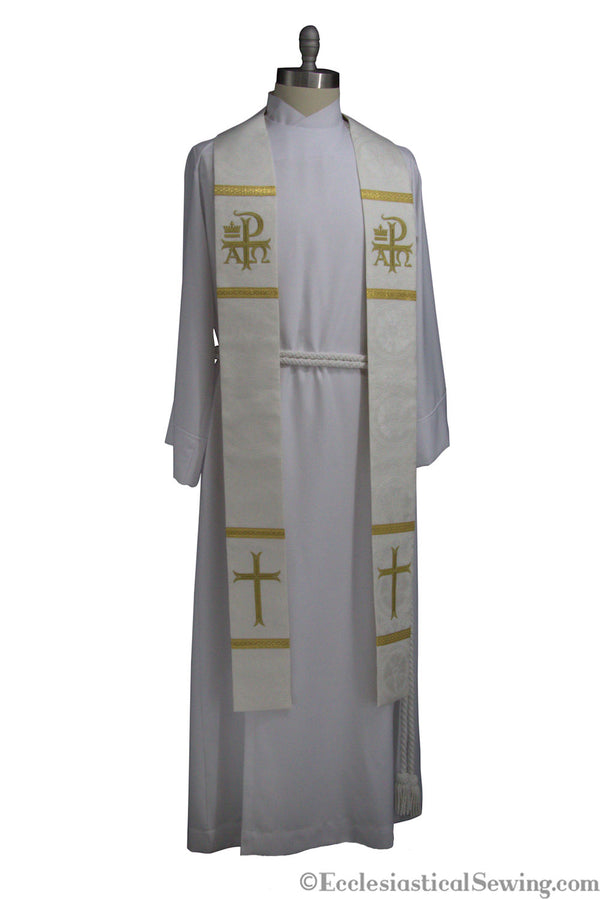 Dayspring Chi Rho Priest White Stole | Pastor Priest White stoles Lutheran Stoles Easter Christmas Ecclesiastical Sewing