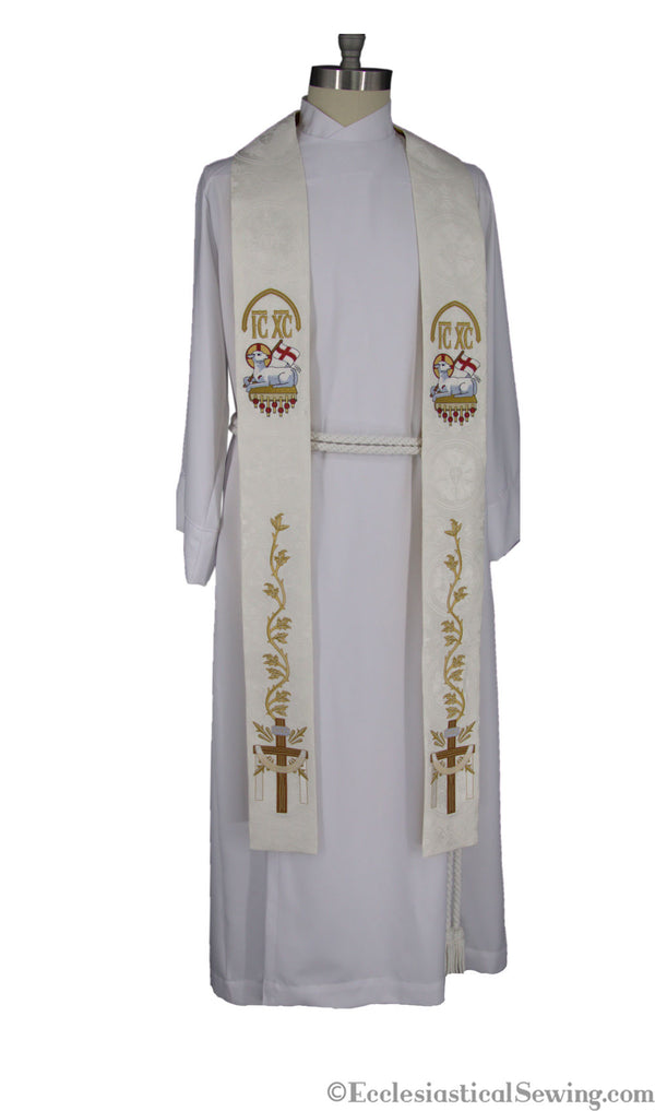White Clergy Stoles | Christmas Rose Easter  Stole Ecclesiastical Sewing