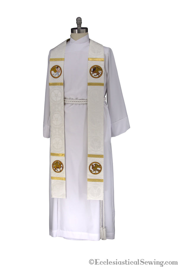 WHite Pastor Priest Evangelist Stole | Clergy Stoles Priests Pastors Ecclesiatsical Sewing