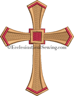 Gold and Red Cross Machine Embroidery | Digital Machine Embroidery Design Ecclesiastical Sewing