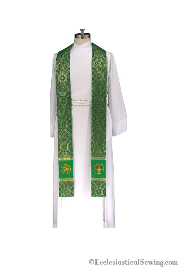 Green Trinity Prayer Stole Priest Stole | Pastor Priest Green Stole Trinity Symbols Ecclesiastial Sewing