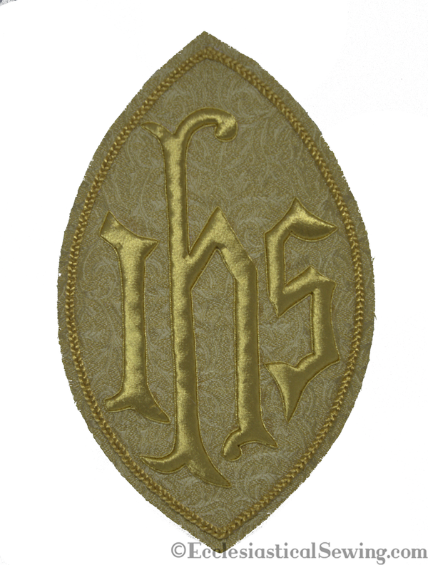 IHS Monogram with Oval Goldwork Applique