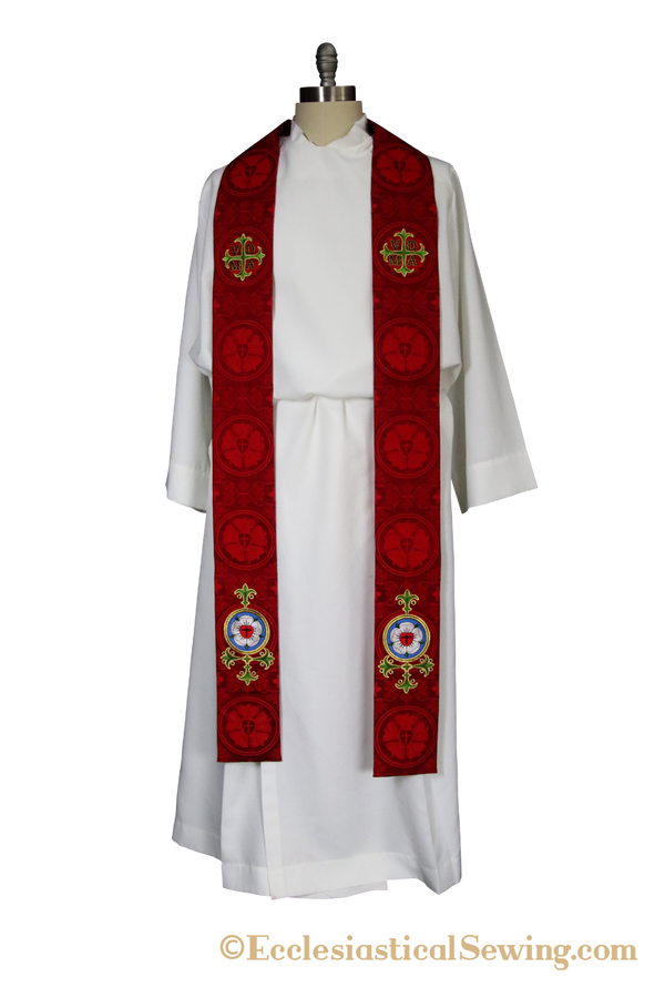 Luther Rose Stole Style #6 Clergy and Deacon Stole (QS)