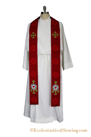 Luther Rose Stole Style #6 Clergy and Deacon Stole