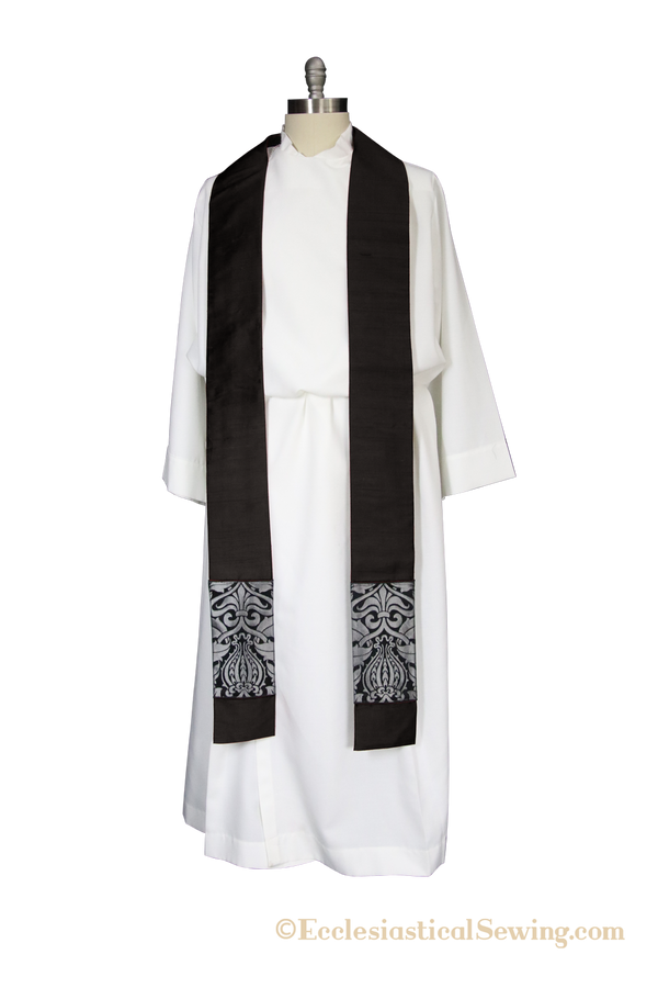 Martyr Stole | for Priest or Deacon with Black and Silver Trim