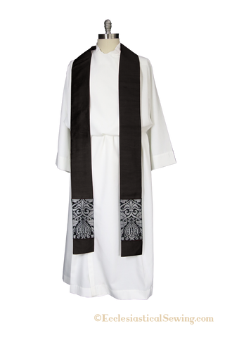 Martyr Stole for Priest or Deacon with Black and Silver Trim