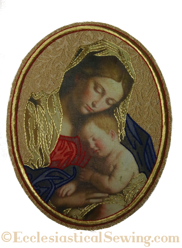 Madonna and Child Embroidered Applique