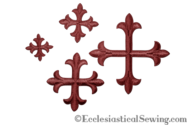 Small Cross Appliques Burgundy with Iron On Backing