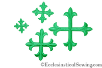 Small Cross Appliques Kelly Green with Iron On Backing