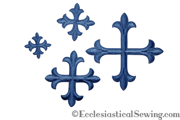 Small Cross Appliques Blue with Iron On Backing