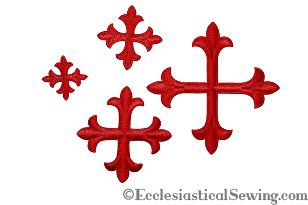 Small Cross Appliques Red with Iron On Backing