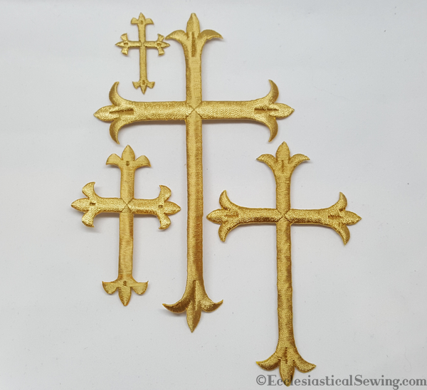 Latin Crosses Gold Metallic and Rayon | Iron Religions Cross Appliques Ecclesiastical Sewing