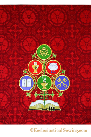 Antependium Catechesis Tree in Luther Rose Brocade