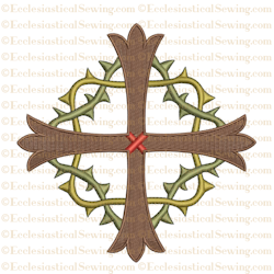 Lent Cross with Crown of Thorns--Religious Machine Embroidery File