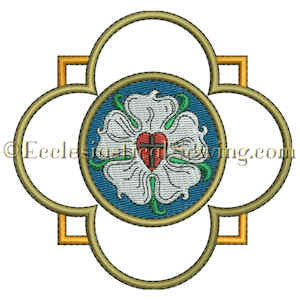 Luther Rose Quatrefoil Liturgical Religious Digital Machine Embroidery File