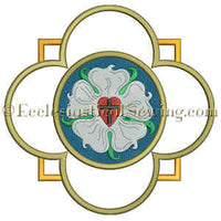 Luther Rose Quatrefoil Embroidery Design
