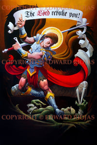 St. Michael Contending with the Devil Edward Riojas | Liturgical Art Prints Ecclesastical Sewing