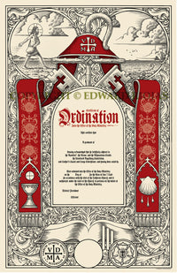 Pastoral Ordination Certificate | Pastor Priest Liturgucial Art Pastor Gifts Ed Riojas Ecclesiastical Sewing