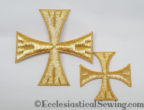 Patee Cross Rose Metallic Gold | Iron On Cross Applique Ecclesistical Sewing
