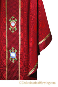 Red Reformation Monastic Chasuble | Luther Rose Brocade Ecclesiastical Sewing