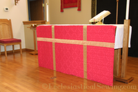 This simple yet elegant full altar frontal has been created using the Cloister Liturgical Brocade Fabric.