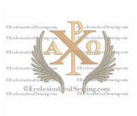 Chi Rho with Palms Church Embroidery Design File | Ecclesiastical Sewing