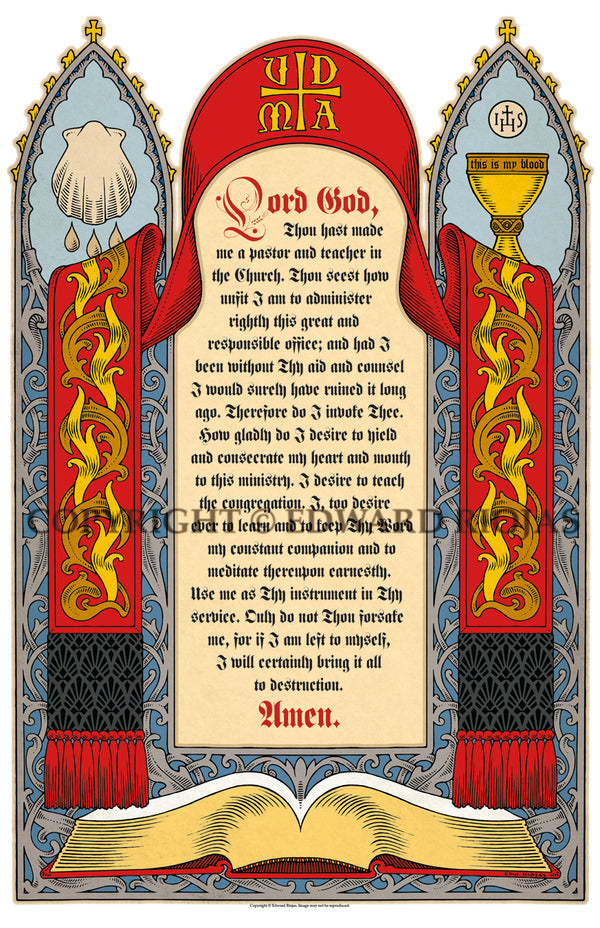 Martin Luther's Sacristy Prayer Print | Sacristy Prayer Liturgical Artwork Ecclesiastical Sewing