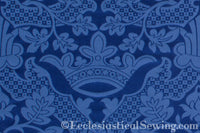 St. Margaret Crown Brocade Liturgical Fabric - Blue| Ecclesiastical Sewing