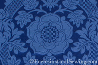 St. Margaret Rose Brocade Liturgical Fabric - Blue | Ecclesiastical Sewing