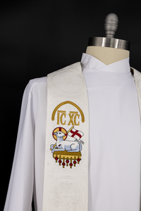 White Clergy Stoles | Christmas Rose Easter Collection Style #3