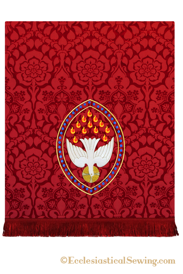 Dove Pentecost Embroidery Design for Pulpit Fall can be stitched in a variety of fabrics.