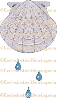 Religious Embroidery Design (Machine) | Baptism Shell Embroidery