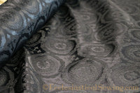 Black and Ivory Fabric | Damask Religious Brocade Fabric