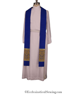 Clergy Stole in the St. Gregory Style #2 | Pastoral and Priests Stoles - Blue