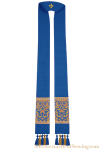 Clergy Stole in the St. Gregory Style #2 | Pastoral and Priests Stoles - Royal Blue