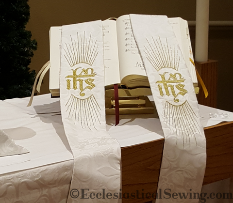 White Clergy Stole | IHS Monogram Pastor or Priest Stole (Handmade)
