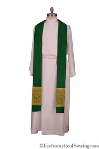 Clergy Stole in the St. Gregory Style #2 | Pastoral and Priests Stoles - Green