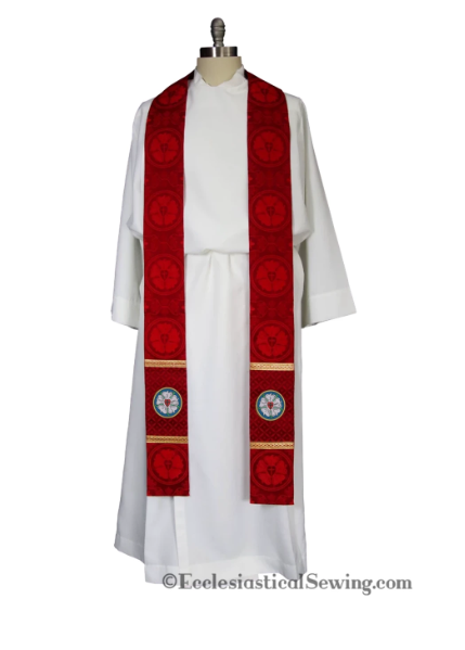 Clergy Stole With Luther Rose Design In Seasonal Liturgical Colors