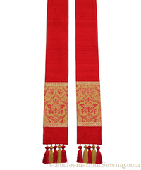 Clergy Stole in the St. Gregory Style #2 | Pastoral and Priests Stoles - Red