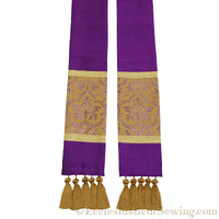 Clergy Stole in the St. Gregory Style #2 | Pastoral and Priests Stoles - Violet