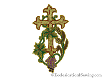 Gold Cross Applique w/ Wheat & Grapes for Clergy Vestments (All Sizes)