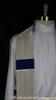 Argenti Clergy Stole - Cloth of Silver Moire and Cobalt Silk Dupioni